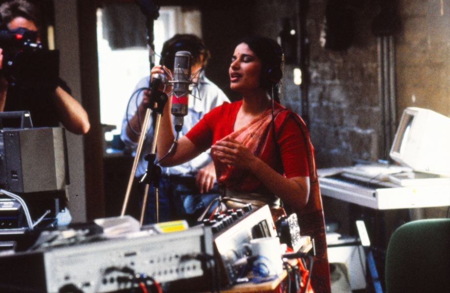 Sheila Chandra in the Work Room during the recording week in 1991