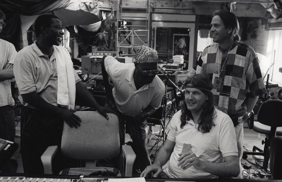 Arona N'Diaye Rose, Ayub Ogada, Richard Evans and Peter Gabriel during Real World Recording Week 1991
