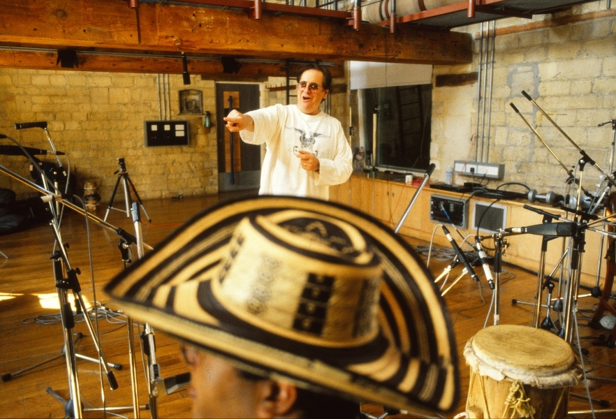 Phil Ramone prepares to produce Totó la Momposina's live album in The Wood Room at Real World Recording Week. Credit, Pete Williams